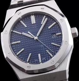 relógios azul royal Desconto Royal Oak Blue Dial Automático Mecânico Transparente Voltar Mens Watch Homem Relógios 41 MM Pulseiras de Aço Inoxidável Pulseira Três Mãos