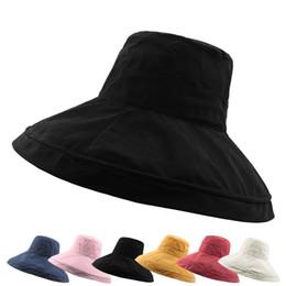 Sombreros plegables sol online-Bardian Bucket Hat Super Large Brim Caps Sombreros para el sol Mujeres Prueba ultravioleta Protector solar para exteriores Multi colores plegable 13hc F1