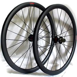 Discos de fibra de carbono online-La fibra de carbono carretera disco bicicleta ruedas de freno 38 mm 50 mm 60 mm remachador bicicleta tubular de ruedas 700c 3K mate Anchura de la llanta 25 mm versión QR