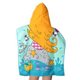 6024245ac Urijk niños toalla de playa niños con capucha de dibujos animados impreso  chica toalla de baño absorbente 1 unid niño lindo textil para el hogar 4  patrón