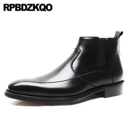 Business Short in pelle pieno fiore genuino Slip On caviglia punta quadrata formale autunno Booties Mens Zipper Dress Boots Party Shoes da
