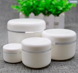Оптовая торговля онлайн-Оптовая торговля-20 г 50 г 100 г 250 г Крем банку, белый пластиковый контейнер для макияжа, PP образец косметики коробка, пустые маски канистры заполняемые бутылки