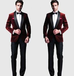 calças de veludo para homens preto Desconto Borgonha Veludo Slim Fit Noivo Smoking Ternos De Casamento Custom Made Groomsmen Melhor Homem Baile de Fatos Calça Preta (Jaqueta + Calça + Arco)