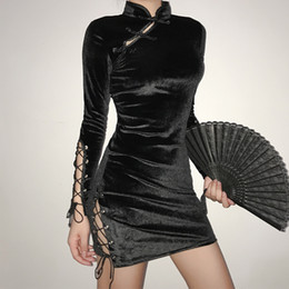 Bandages chinois en Ligne-Robe en velours Robe d'été Femmes chinoise Qipao Harajuku Sexy Robe moulante style gothique punk 2020 bandage rétro sexy