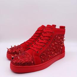 Argentina 2019 Nueva marca Botas lujosas Bottom Red Men Women Casual Spikes Rivets Rhinestone Shoes Dress Party Walking RUNNING Shoe Sneakers EUR38-46 cheap rhinestone running shoes Suministro