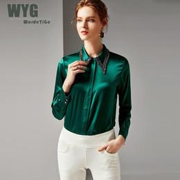 Шелковые блузки онлайн-Top  Thick Real Silk Shirt 2019 Spring Office Lady High Quality Beading Turn-down Collar Long Sleeve Green Grey Pink Blouse