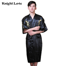 Azul marino de los hombres chinos de seda traje de satén bordado Kimono vestido de baño Dragón verano hombre camisón talla S M L XL XXL XXXL desde fabricantes