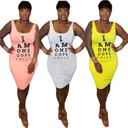 sexy backless club shirt Promo Codes - Women sexy mini dresses letter print scoop neck t-shirt dresses sleeveless backless skinny new arrival hot sale fashion street dress 743