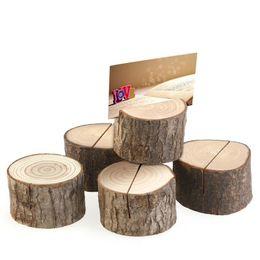 Titular de la tarjeta de madera online-Titular del tocón de árbol artesanía del lugar del titular de la tarjeta del asiento de madera natural de la boda cilíndricos y titular de la tarjeta Estilo semicírculo