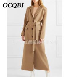 Abrigo de camello de cachemir de las mujeres online-Coreano Elegante Mujer Cachemir Largo Camel Cinturón Diseñador de moda Fleece Plus Size Coat 2019
