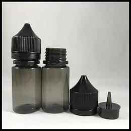tappi a vite in vetro ambrato da 15 ml Sconti Bottiglie di liquido nero trasparente E da 30 ml PET Tappo antimanomissione da bambino nero Punta nera Bottiglie di grasso 30ML Dorpper