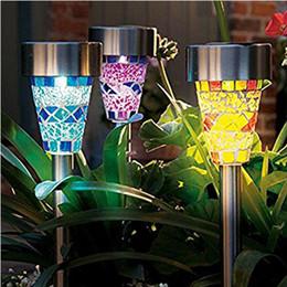 lampada postale alimentata a energia solare Sconti Solar Powered Lamp Solar Mosaico Border Garden Post Luci Decorazione del giardino Luce di palo Luce solare a Led Pathway Light Regali di Natale