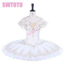 vestidos de nylon personalizado Desconto Branco ballet tutu vestido Adulto Profissional Ballet Tutus saia Pancake Tutu Mulheres Custom Made Esmeralda CostumeBT9259