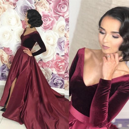 velvet evening dress gown Coupons - Sexy Split Burgundy Arabic Prom Dresses 2019 Long Sleeve A Line Formal Special Occasion Evening Gown vestidos de fiesta de noche