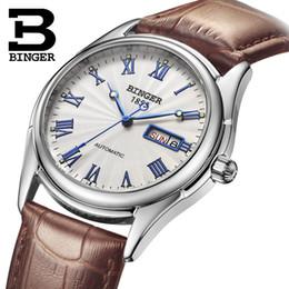 23f3619f1d6 2019 esqueleto relógios calendário masculino Marca suíça BINGER Moda homens  relógio automático High-end Mecânica