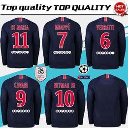 6639c50e6a2 AAA+ PSG Home long sleeve Soccer Jerseys 2018 2019  7 MBAPPE Paris  Saint-Germain Soccer Shirt  10 NEYMAR JR Football Uniform 2019 size S-XL  black yellow ...