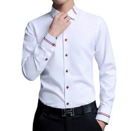R robes en Ligne-Chemises habillées Mode homme Chemises Oxford à manches longues Coupe ajustée Chemise sociale décontractée blanche RS-369