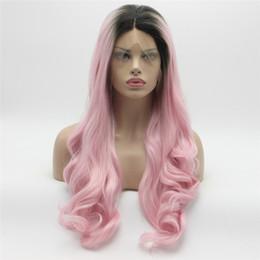 parties du corps Promotion Synthétique Lace Front Wig Body Wave Foncé Racine Rose Ombre Perruque Milieu Partie La Moitié Main Attaché Longue Perruques Ondulées pour Les Femmes Résistant À La Chaleur