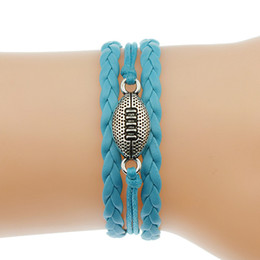 rugby charms Promo Codes - Blue Leather Rope Bracelets & Bangles Silver Infinity Love Rugby Player American Football Pendant Adjustable Women Men Accessories Jewelry