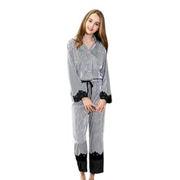 3f04d398b5 New Hot Home Ladies Sleepwear Fashion Femme Nightgown Lace Joining Together  Stripe Long Sleeve That Occupy The Home Women Paja