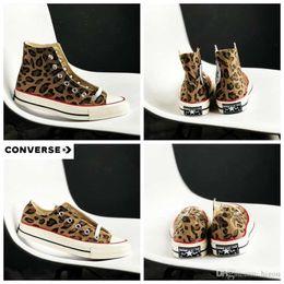 eb257b442 2019Canvas kuangwei Sapatos de Todos Os Anos 70 Star Leopard print  Chaussures Das Mulheres Dos Homens Tênis de Corrida Sneakers 36-44