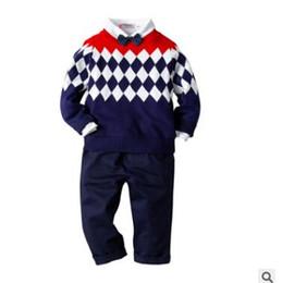 vestito del maglione del bambino Sconti Baby Boys Outfits Sets Formal Clothes Winter Boys Maglia manica lunga con fiocco Diamond Sweater Pants Abbigliamento bambini Gentleman Boy Clothes 2-7Y