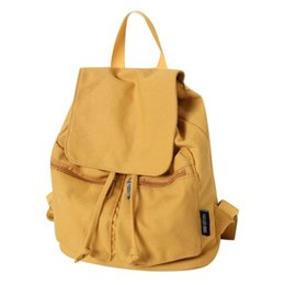 1e56b0c85c6f Backpack Women Canvas Casual String Cover Teen Girl Shoulder Schoolbag  backpack Solid Rucksack Bagpack female mochilakanken