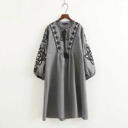 Canada 2018 Automne Printemps Robes pour les femmes Mori fille Fleur broderie Manches longues O cou femmes habillent gris Offre