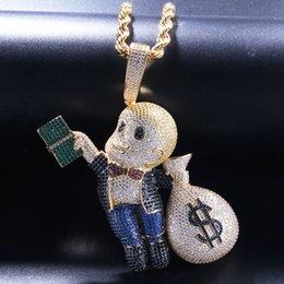 gold-dollar-schein Rabatt Hip Hop Persönlichkeit Ein kleiner Junge mit einer Dollarnote in der Hand Dollartasche Farbiger Zirkonanhänger für kahle Kinder