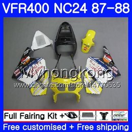 Carenado vfr amarillo online-Cuerpo para HONDA RVF400R VFR400RR RVF400RR VFR400R amarillo negro 1987 1988 267HM.42 VFR400 R NC24 V4 RVF VFR 400 R VFR 400R 87 88 Juego de carenado