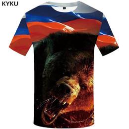 Ours T-shirt Russie T-shirt Sexy Homme Chemises 3d T-shirt Animaux Vêtements Pour Hommes ? partir de fabricateur