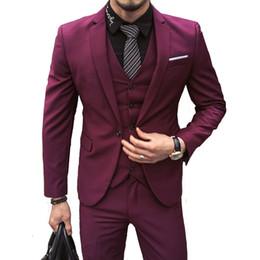 Men s business high-end suit 3 piece set (coat vest pants) blazers work  wedding banquet official male suit Plus size a594c31b2
