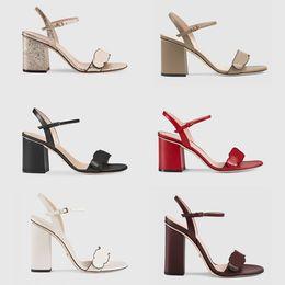 sexy gold hochhackige sandalen Rabatt Neue Luxus High Heels Leder Sandale Wildleder Mid-Heel 7-11cm Frauen Designer Sandalen High Heels Sommer Sexy Sandalen Größe 35-40 mit Box