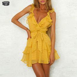 Шифон желтые платья оборки онлайн-Твердая оборками платье платье женщин Зеленый Желтый Sexy шифон Повседневные платья пляж платье партии Vestidos Белая осень зима