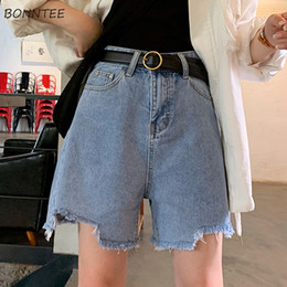 Корейская одежда высокого качества онлайн-Shorts Women Solid Pockets Loose Korean Style High Quality Summer Denim Harajuku Womens All-match Female Casual Clothing 2019