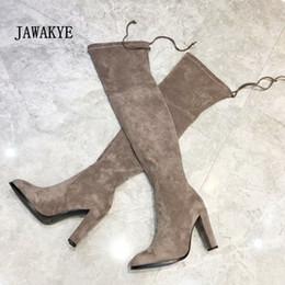 Stivali al ginocchio grigio scamosciato online-New Highland Stretch Over The Knee Boots Donna Grey Suede Chunky Tacchi alti Scarpe Donna Sexy Stivali alti a vita alta per le donne