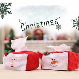 2019 copertura in plastica a distanza Scatole di tessuto natalizio Borsa di tovagliolo Lanugine di Babbo Natale Pupazzo di neve Borse di tessuto Regali di Natale Decorazione domestica per la casa Forniture per ufficio
