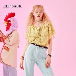 788f3bd755174 2019 шикарная модная одежда ELF SACK Summer Floral Slash neck Women Blouses  Fashion Casual Butterfly Sleeve