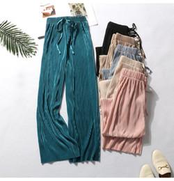 Толстые юбки онлайн-Сотни плиссированных леггинсов женщин Xia 201 взрывы 9 высокой талией свободные толстые мм юбка брюки бумажные прямые повседневные брюки