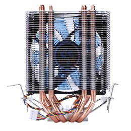 copper heat pipes Promo Codes - Lanshuo 4 Heat Pipe 4 Wire With Light Single Fan Cpu Fan Radiator Cooler Heat Sink For Intel Lga 1155 1156 1366 Cooler Si