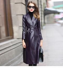 6c5faaf3f4f High Quality Genuine Leather Jacket Women Real Sheepskin Coat Female Long  Autumn Women Windbreaker Trench Jaqueta Feminina Z270 purple leather trench  coat ...
