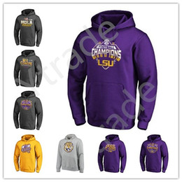 Pulls de collège en Ligne-Hommes NCAA LSU Tigers College Football 2019 Sweat-shirt à capuche national Pull Champions Salut au service Sideline Therma Performance