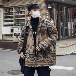 2018 hiver coréenne hommes Casual vrac Thicken géométrique vêtements en coton rembourré Coat Lapel Veste à Parka Homme M XL