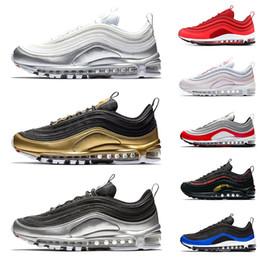 37900ef9e6a Nike air max airmax 97 QS Pacote Metálico tênis para mens mulheres sneakers  designer de homens formadores prata ouro preto branco Ginásio vermelho  sapato ...
