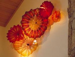 lastre della parete della decorazione elegante parete in vetro Tiffany lastre di vetro soffiato di Murano su ordine Luci in Vetro di Murano Chihuly Style parete da interruttori lucidi cromati fornitori