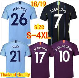 7ad717a0a10b4a Top quality MAHREZ JESUS DE BRUYNE KUN AGUERO Bernardo Soccer Maglie 2018  2019 SANE SILVA STERLING City Football T-Shirts Plus Size S-4XL magliette  di ...