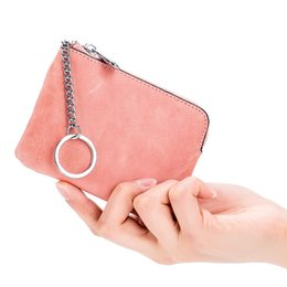 cowhide purses wholesale Promo Codes - Girl's Cute Coin Purse Women Cowhide Leather Coin Pouch Men Small Mini Wallet Genuine Leather Keychain Change Purse Bag MF-409