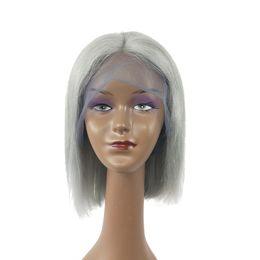 Migliori parrucche di qualità a buon mercato online-Moda bellezza qualità nuovo arrivo migliore qualità non trasformati vergine remy dei capelli umani medio grigio serico dritto parrucca piena del merletto a buon mercato per le donne