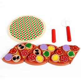 2020 simulazione frutta ortaggi giocattoli 27Pcs Pizza Giocattoli di legno Cottura Simulazione Stoviglie Cucina per bambini Finta Gioca Giocattolo Frutta Verdura Con Stoviglie sconti simulazione frutta ortaggi giocattoli