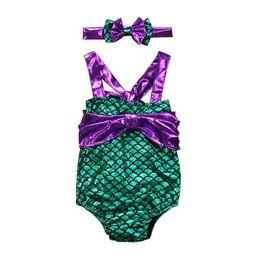 47851c728cc8d 2019 new Mermaid Kids Swimwear bowknot One-piece Girls Swimsuit+bows  headband Kids Bathing Suits girls Bikini Baby Sets Beachwear A4589